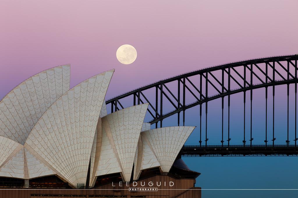 Opera House and Harbour Bridge Moonset, Sydney, Australia